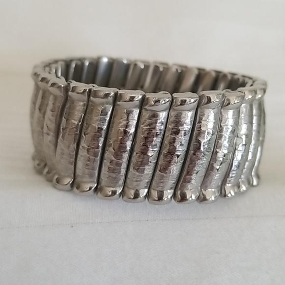 Monet Hammered Silver Tone Bracelet